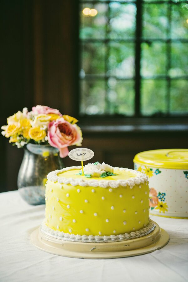 White and Yellow Cake with Mini Bunting