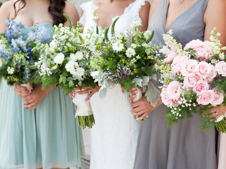 Mismatched bridesmaid bouquets