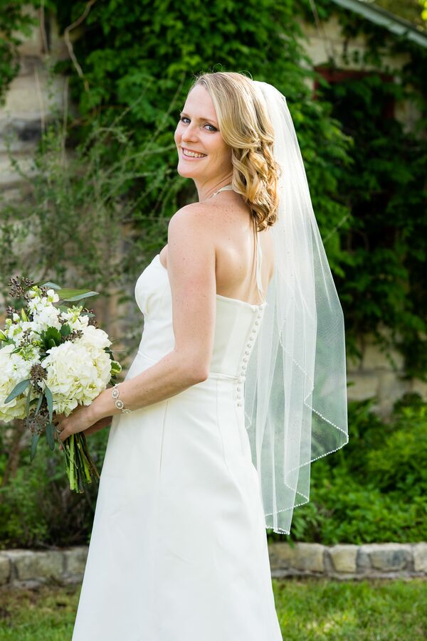 Simple White Strapless Wedding Dress