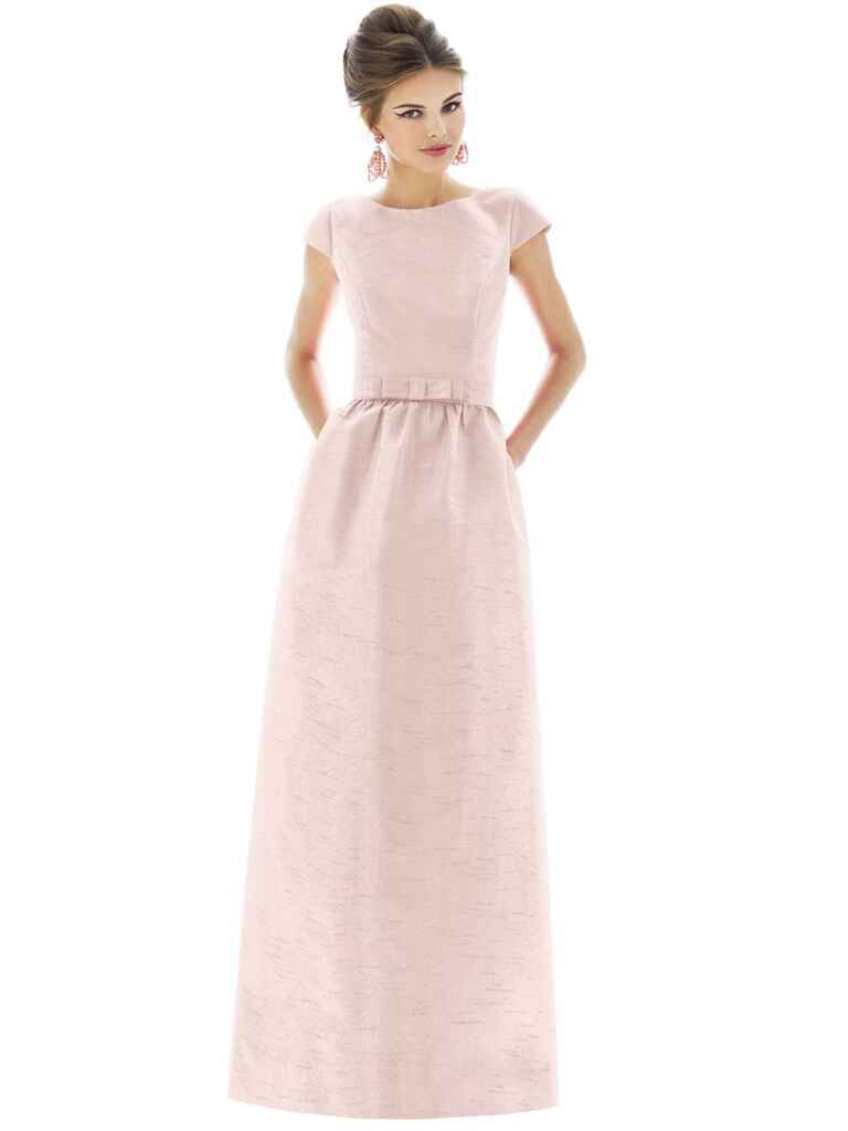 Alfred Sung cap sleeve dupioni full-length dress in Pearl Pink