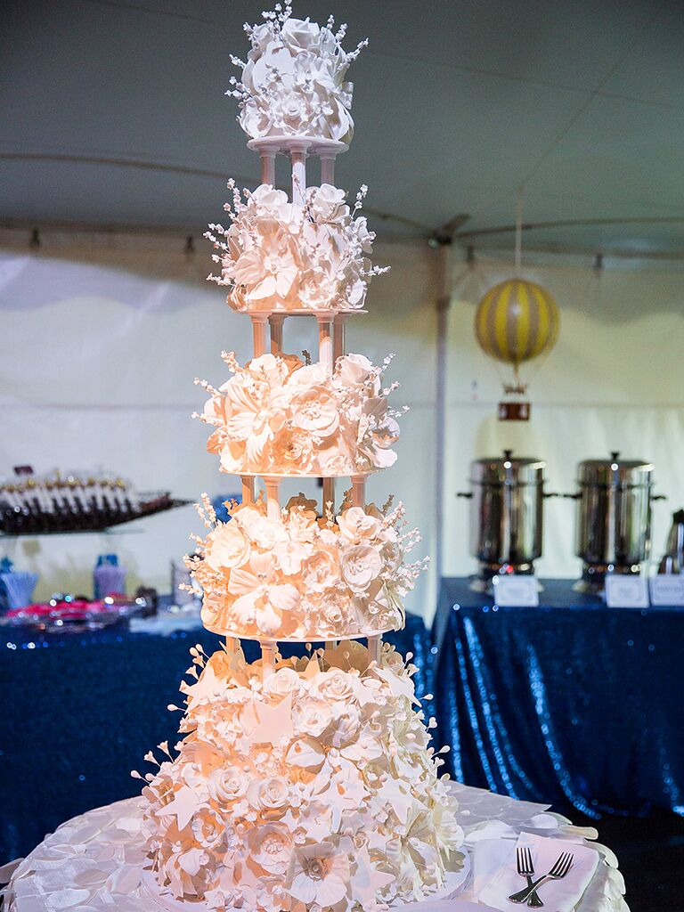 Glamorous Five Tier Column Wedding Cake With Sugar Flowers