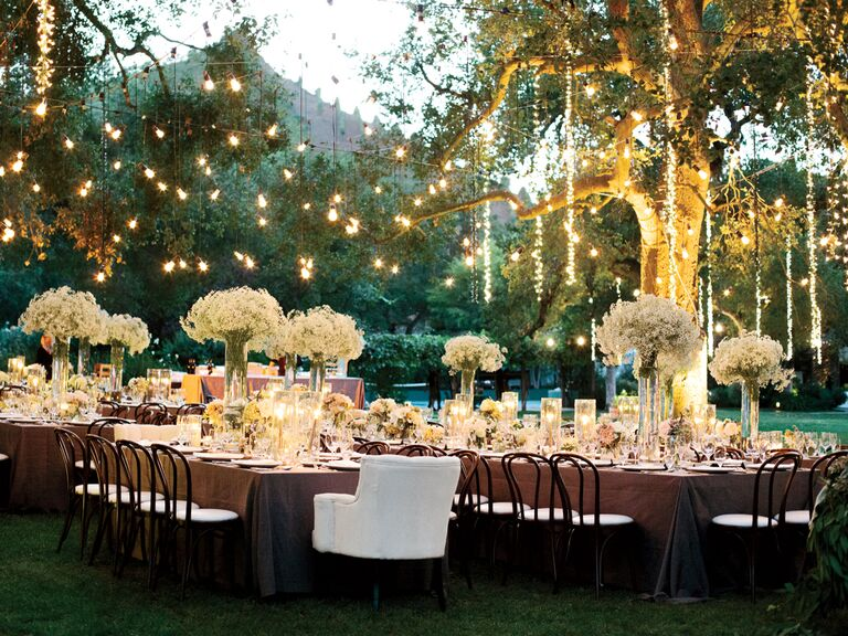 Wedding reception lighting basics hanging lights over outdoor wedding reception junglespirit Gallery