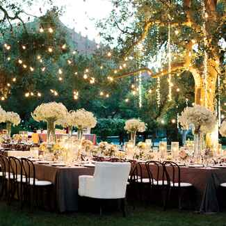 Hanging lights over outdoor wedding reception