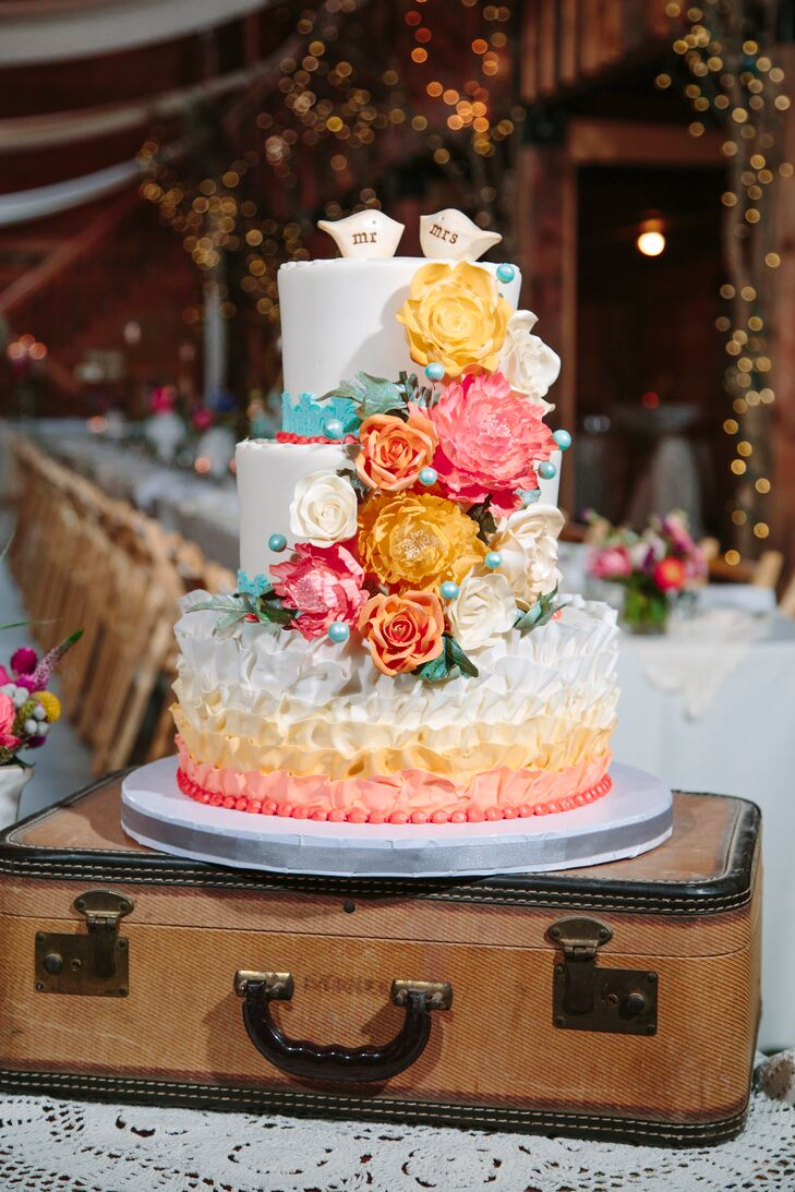 Pink Orange Yellow Flower Decorated Wedding Cake