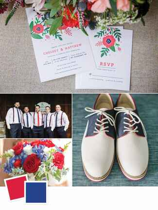 Red, white and blue summer wedding color inspiration