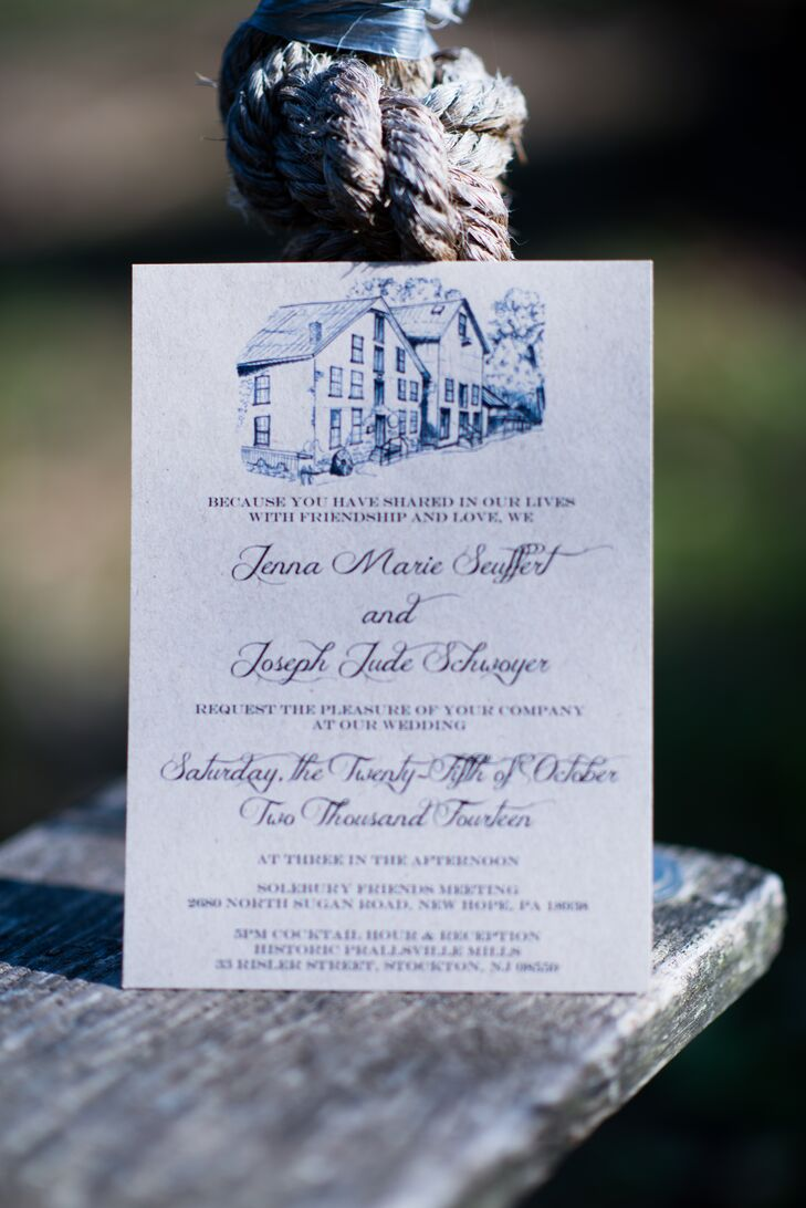 Jenna and Joe's wedding invitations were printed on recycled cardstock and featured sketches of the ceremony and reception venues that were hand drawn by a friend.