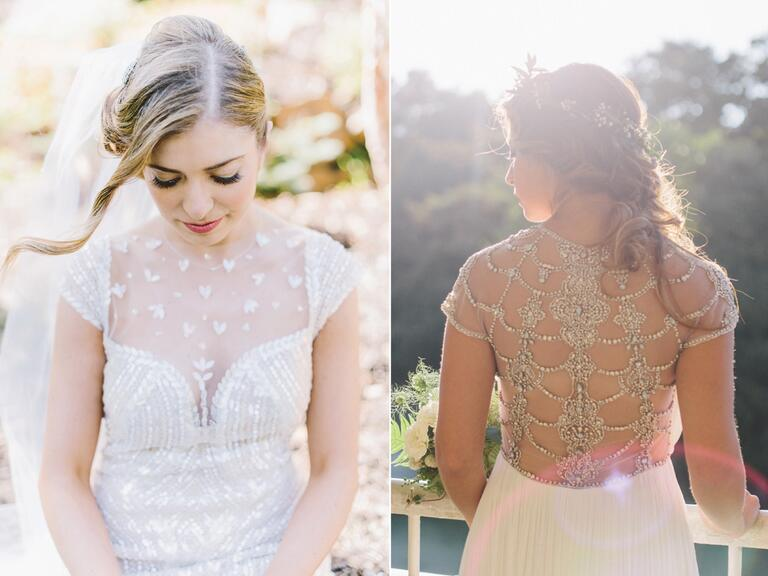 Sheer wedding dresses with romantic beading details