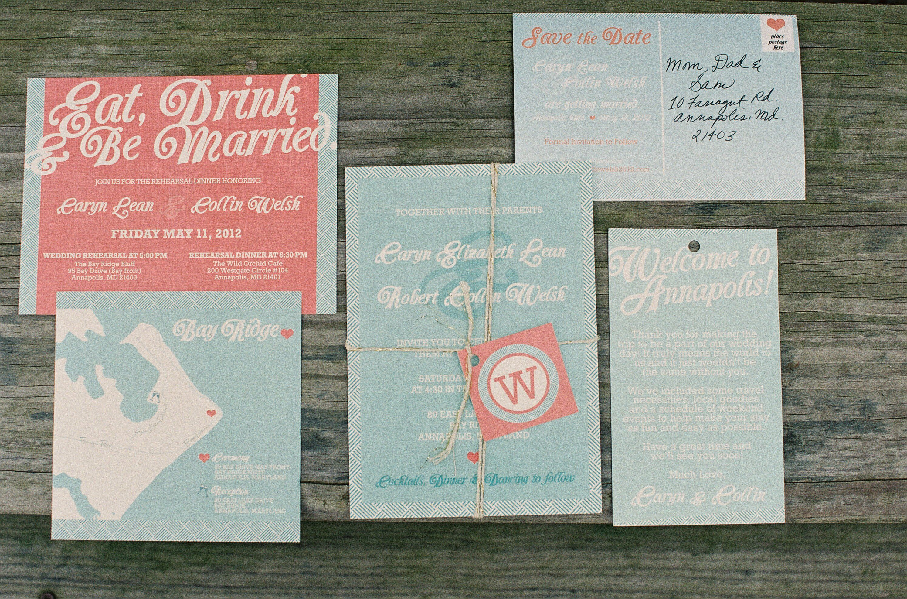 Turquoise And Coral Wedding Invitations: Turquoise And Coral Invitations