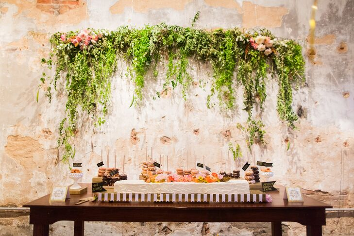 Green Garland Over Dessert Table