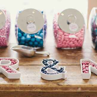 wedding candy bar  with mandms