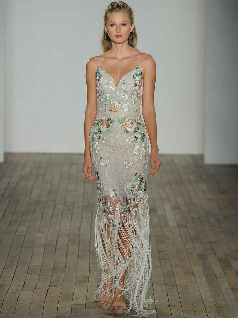 Hayley Paige Spring 2018 Iggy fit and flare gown with floral embroidery and fringe hem