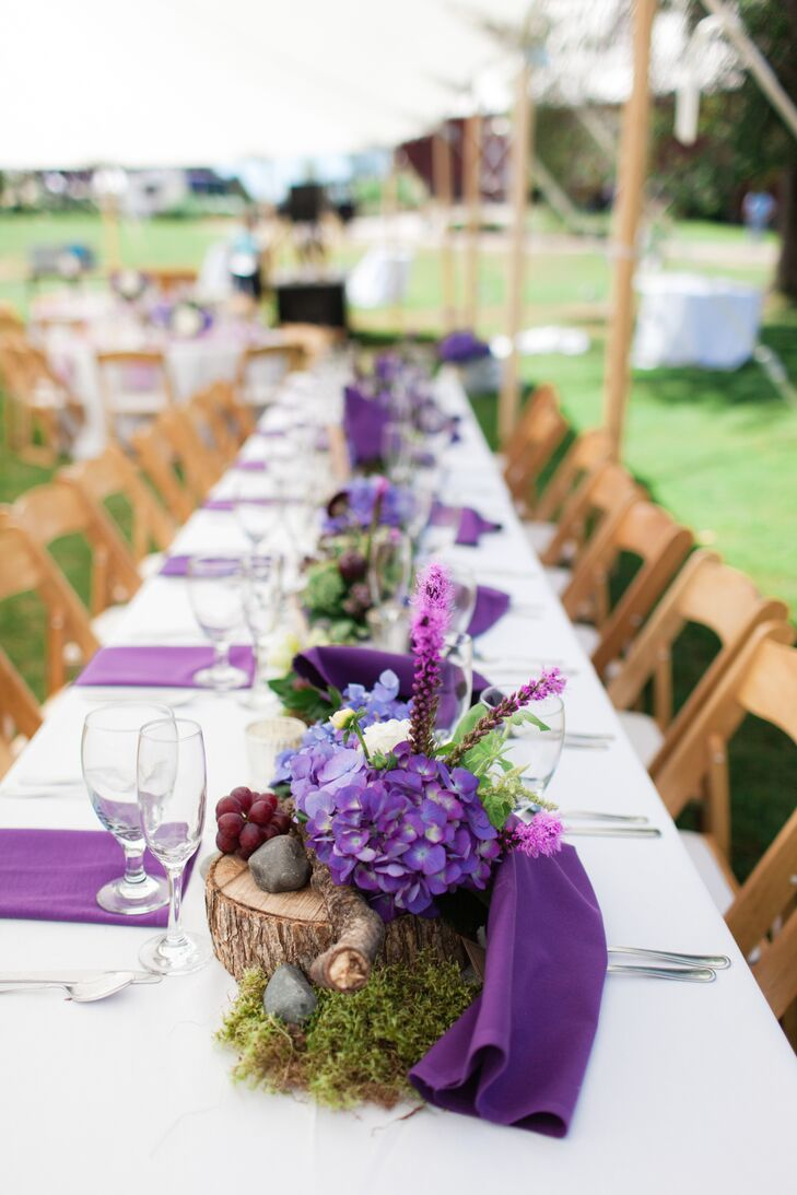 Farm Table With Natural Purple Centerpieces