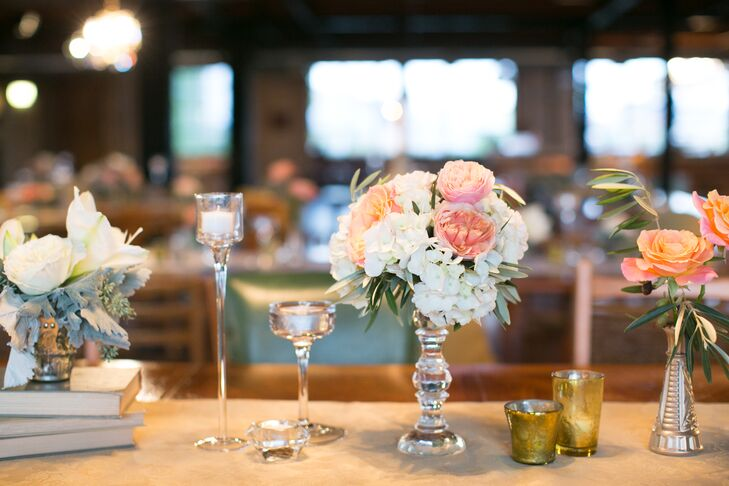 Elegant Garden Rose, Hydrangea and Candle Centerpieces