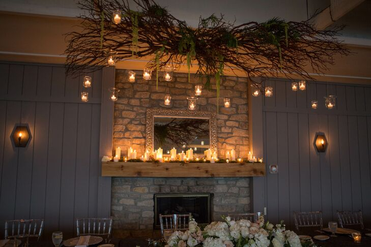 Mantel Wedding Decor With Hanging Candles