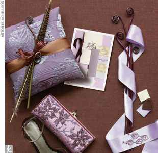 Lavender, cream and chocolate wedding accents