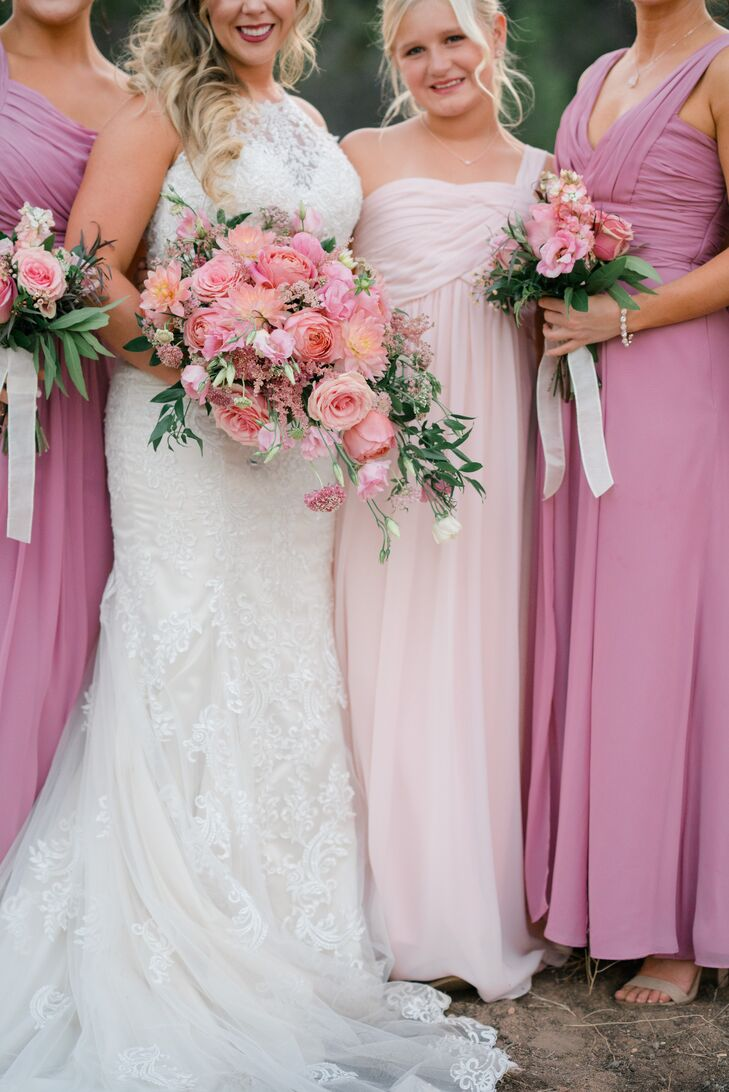 Cascading Pink Dahlia and Rose Bouquet