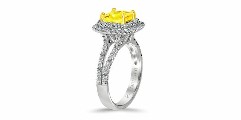 Daviani yellow diamond engagement ring with gold prongs