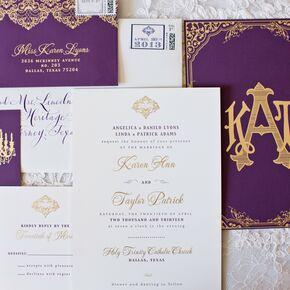 chic purple and gold wedding invitation - Purple Wedding Invitations