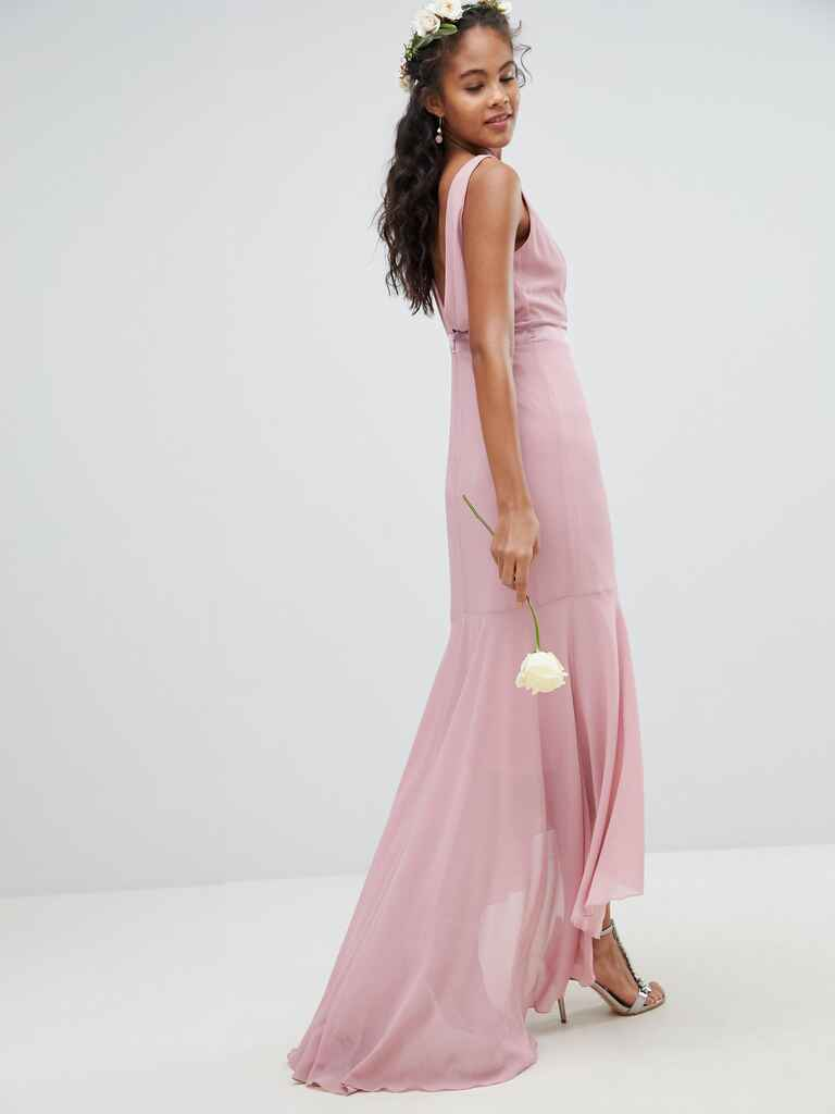 Asos TFNC tall wedding maxi dress with high-low hem