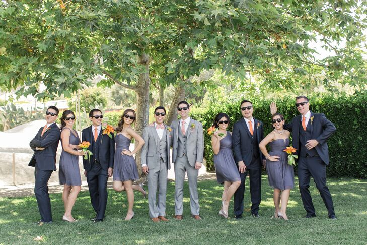 Gray Wedding Party with Sunglasses