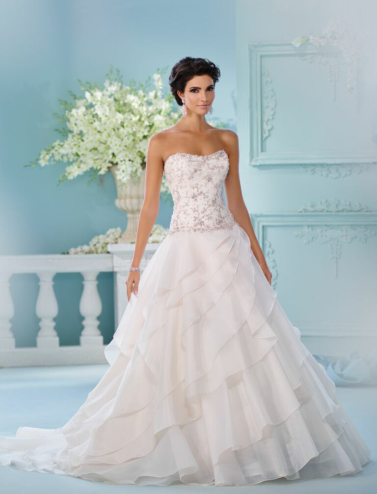 David tutera spring 2017 collection bridal fashion week photos david tutera spring 2017 strapless beaded bodice with asymmetrical cascading skirt junglespirit Choice Image