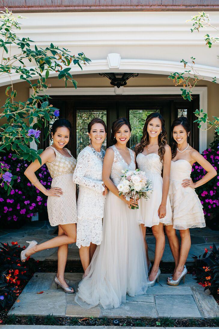 Mismatched neutral colored bridesmaid dresses ombrellifo Images