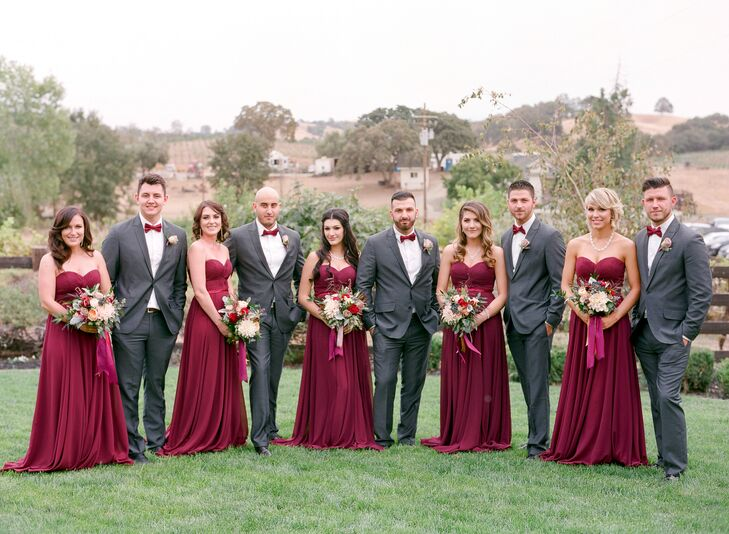 elegant bridal party in gray and crimson