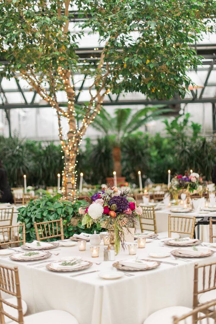 "A soft, neutral color scheme of ivory and green set the tone for Melissa and Sean's flower-filled celebration at Planterra. ""We wanted to focus on lush botanicals and greenery to highlight the venue and take advantage of the unique space,"" Melissa says."