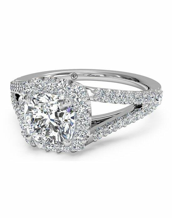 Ritani Cushion Halo Diamond 'V' Band Engagement Ring in 18kt White Gold (0.50 CTW) Engagement Ring photo