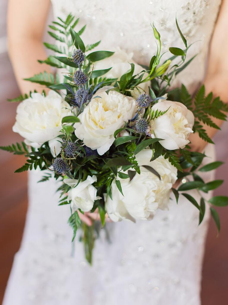 Unique wedding bouquet idea with ferns, peonies and thistle
