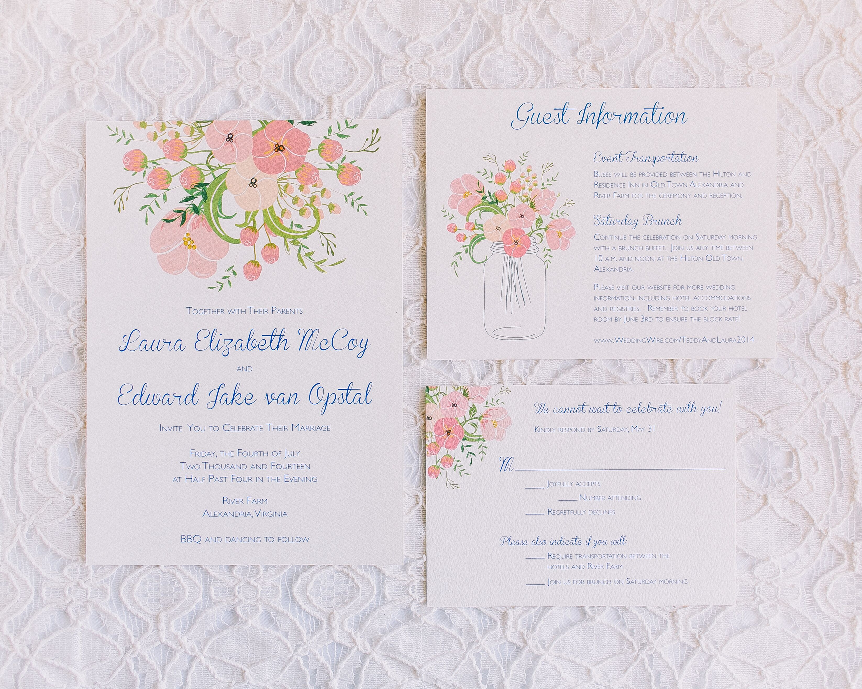 Floral Invitations in Peach, Pink and Powder Blue