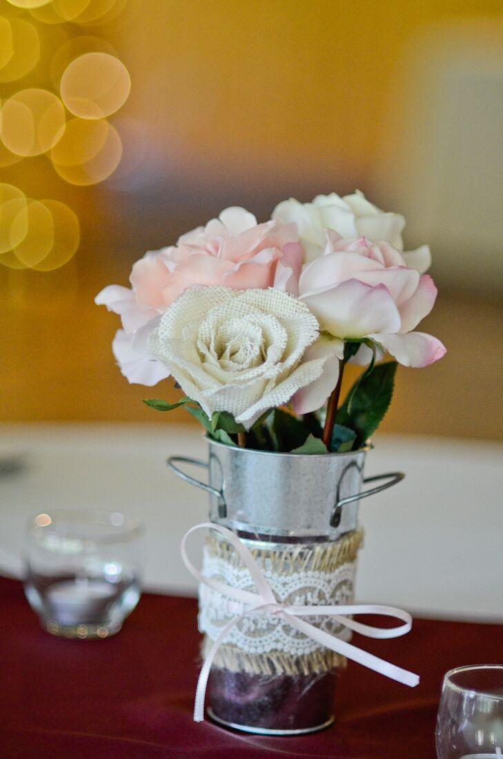 Diy burlap rose centerpieces