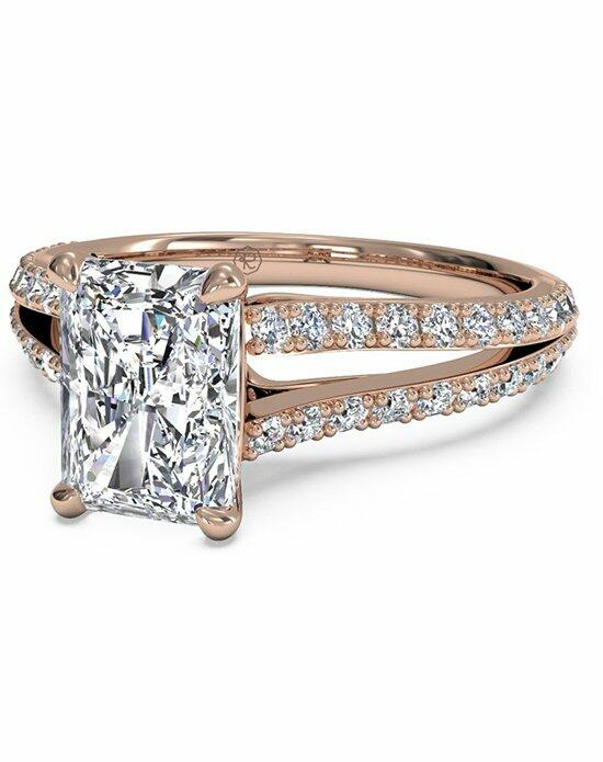 Ritani Radiant Cut Double French-Set Diamond 'V' Engagement Ring with Surprise Diamonds in 18kt Rose Gold (0.24 CTW) Engagement Ring photo