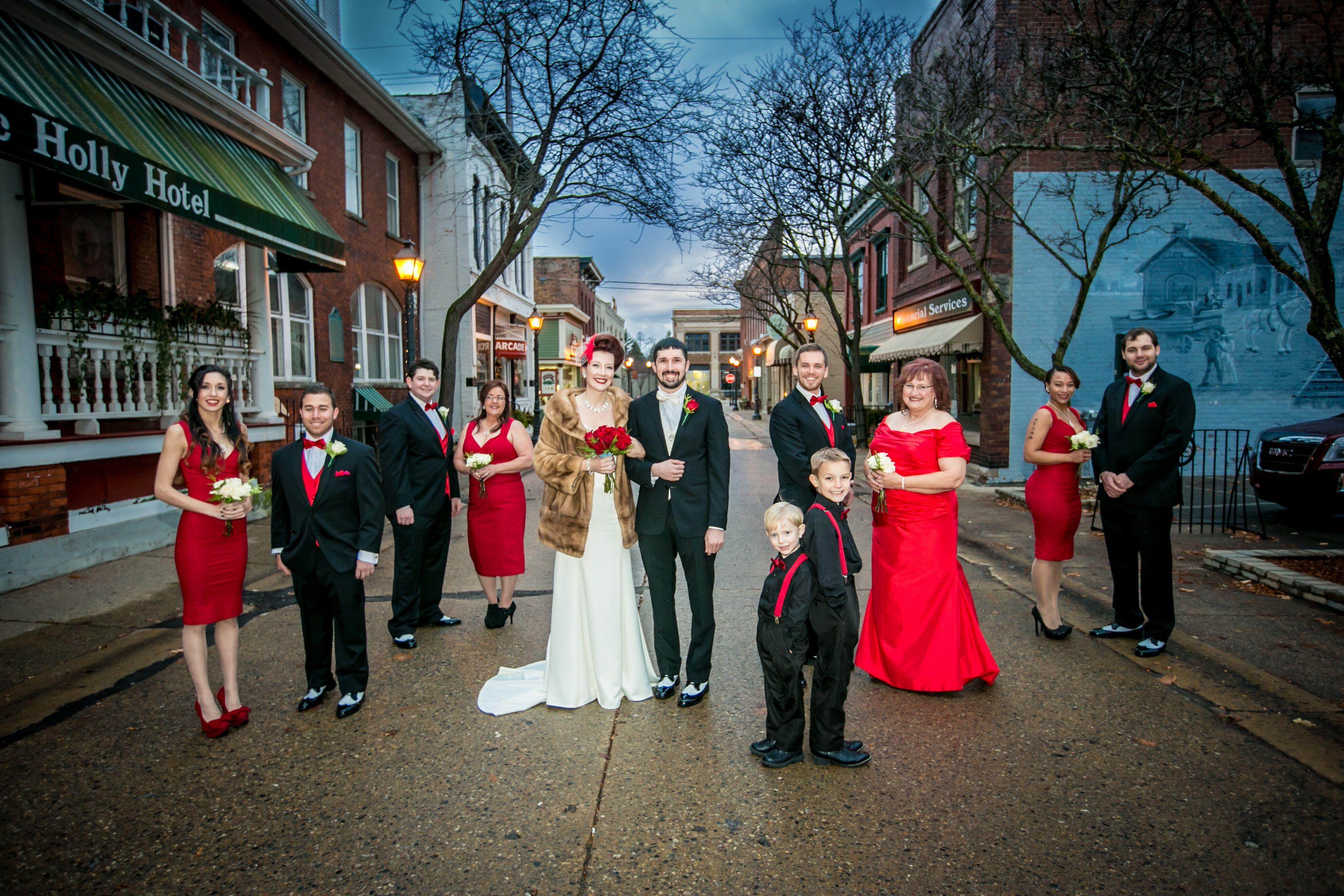 Vintage 1950s Black White And Red Wedding Party At Holly