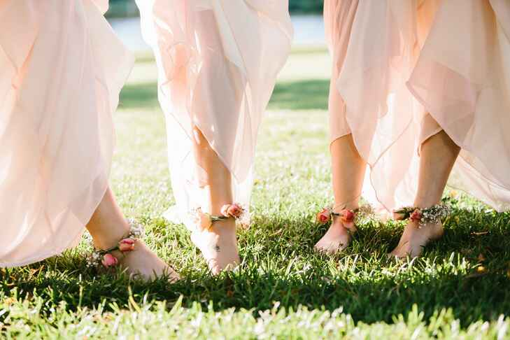 Barefoot bridesmaids with floral anklets