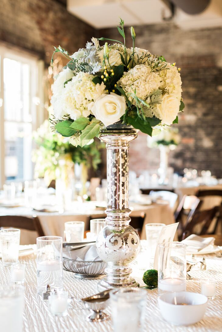 Tall White Rose And Hydrangea Wedding Centerpieces