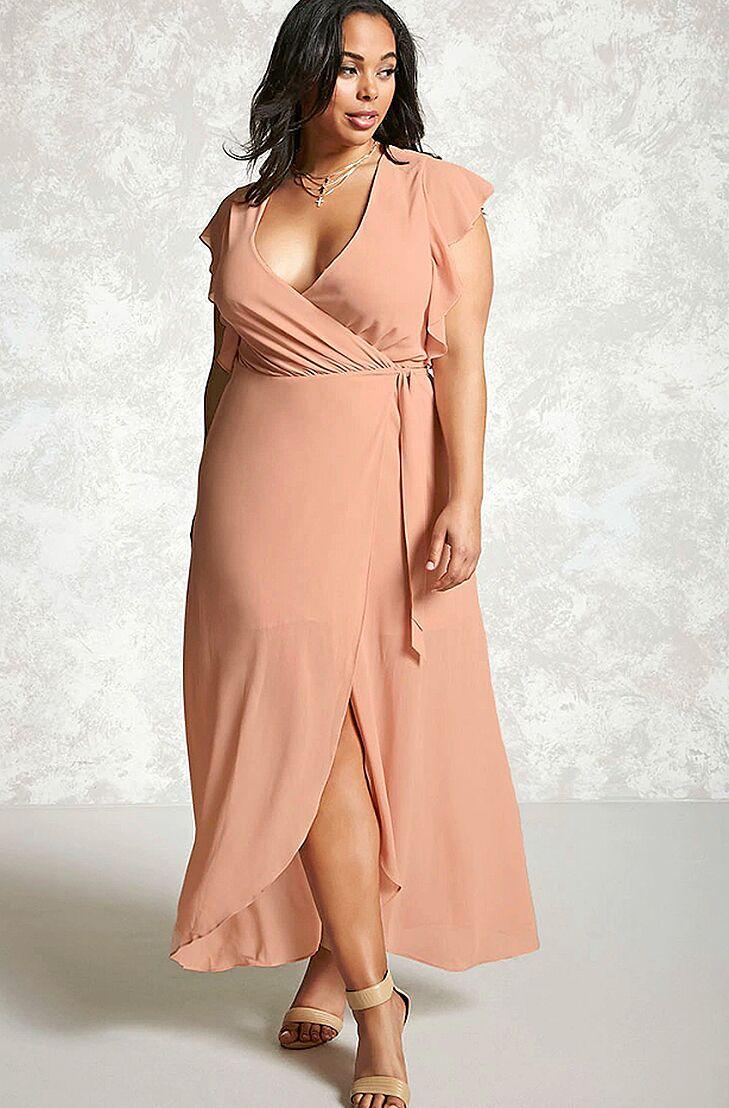 Blush Wrap Plus Size Beach Wedding Guest Dress