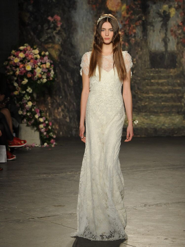 Jenny packham debuts wedding dress collection for bridal fashion week jenny packham wedding dress with delicate floral lace from spring 2016 junglespirit Choice Image