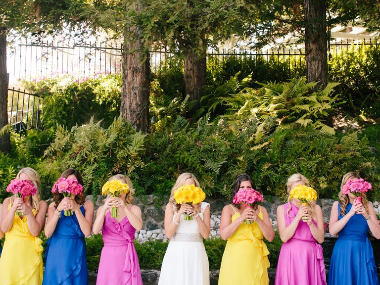 Bold bridesmaids dress colors