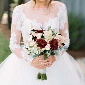 Fall wedding flower arrangements blush and burgundy dahlia bouquet junglespirit Choice Image
