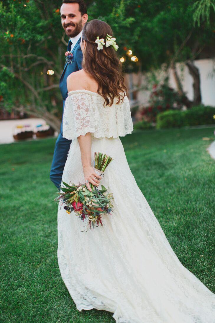 Off The Shoulder Boho Lace Wedding Dress