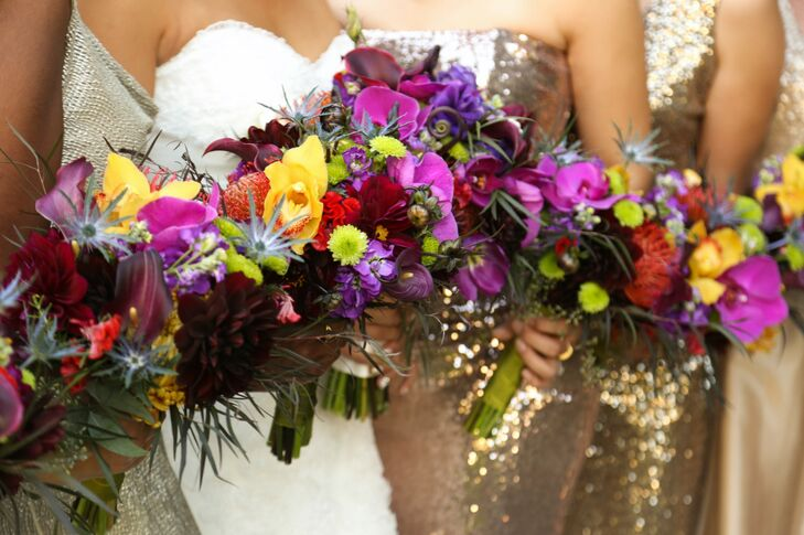 Bright Purple and Yellow Bouquets