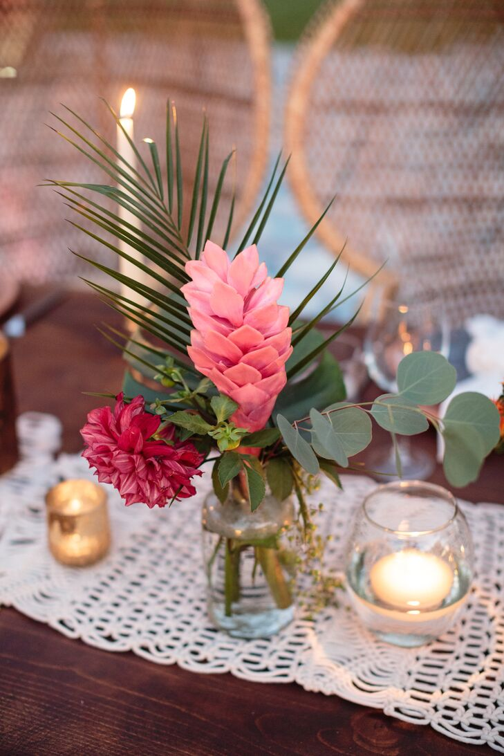 Tropical Pink Flower Palm And Eucalyptus Centerpiece