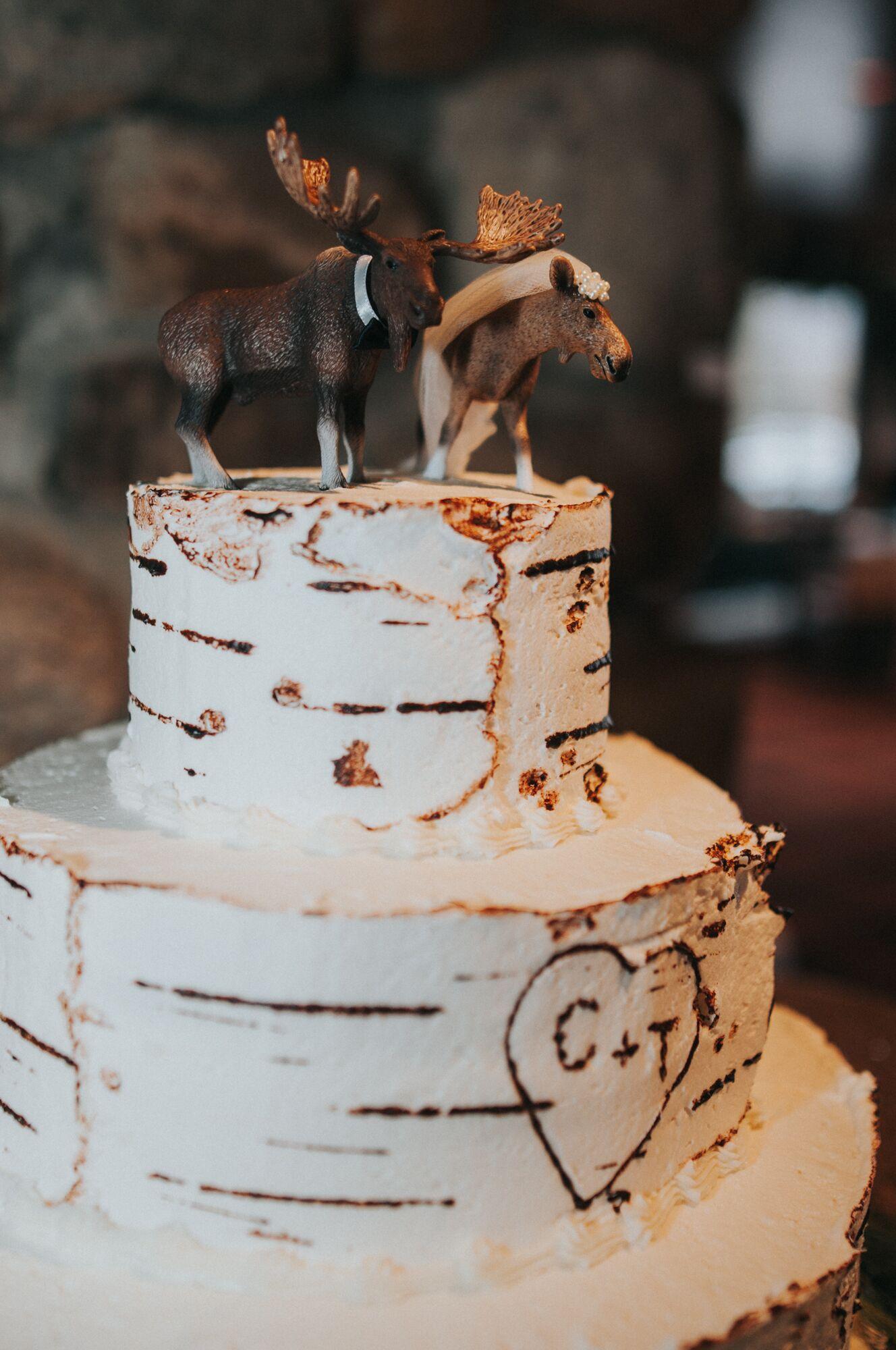 Lodge Mountain Trees Rustic Wood Engraved Cake Top Moose Wedding Cake Topper