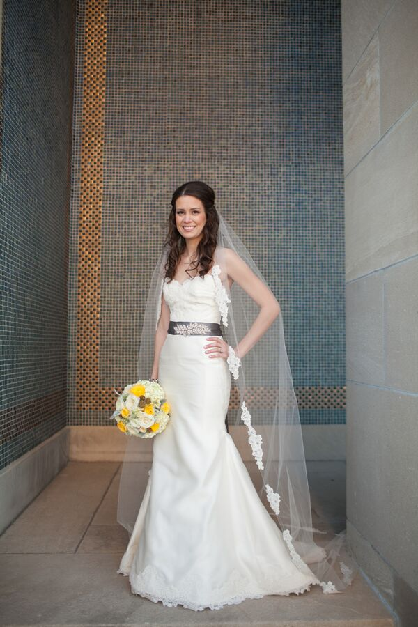 Fit-and-Flare Wedding Dress With Gray Belt