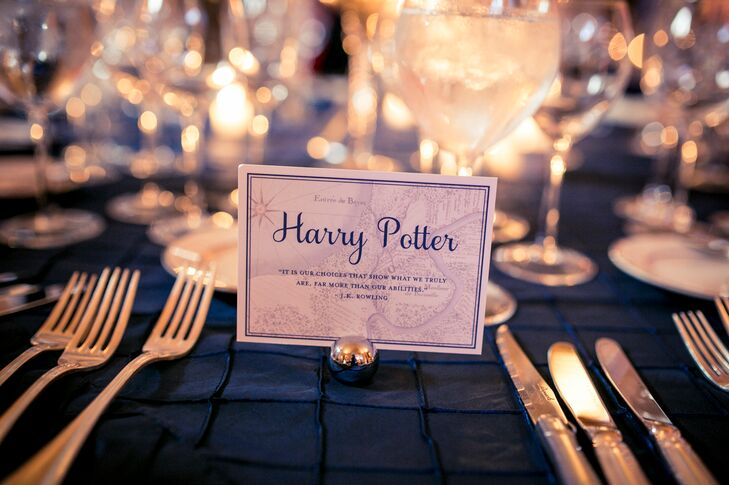 "Their programs weren't the only things inspired by Kendra and Adam's childhood. Each table name acknowledged one of their favorite books. ""Charlotte's Web,"" ""Harry Potter,"" ""Lord of the Rings"" and ""Brave New World"" all made the cut. Each card had a quote in case guests needed a little reminder of the plot."