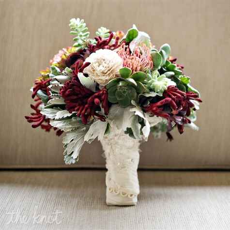 Green and red bridal bouquet