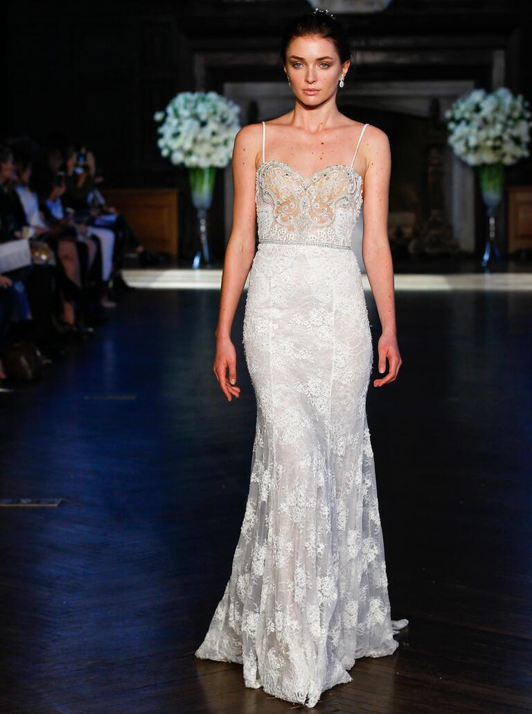 Alon Livne Fall 2016 sleeveless A-line silhouette and lace overlay wedding dress | fabmood.com
