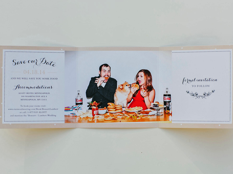 Funny trifold card save-the-date