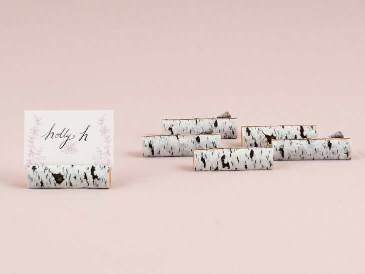Faux birch log place cards holders from The Knot Shop